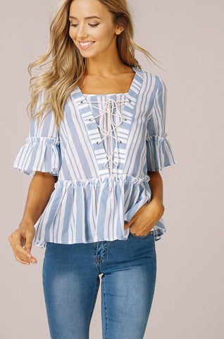 Lace up Striped Top - Blue