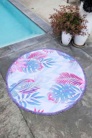 Summer Round Oversized Beach Blanket Towel - Tropical Mint and Pink