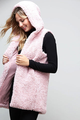 Fluffy Cloud Sherpa Vest - Pink