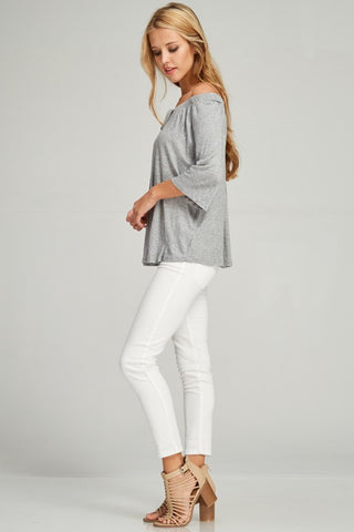 Spring Off Shoulder Top - Gray