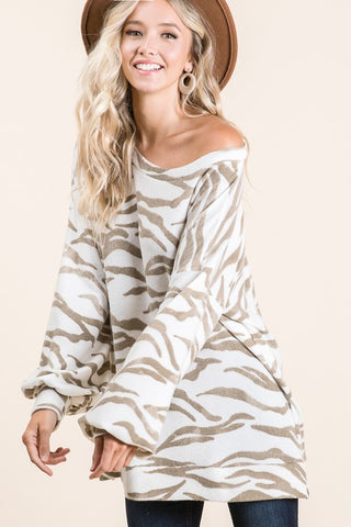 Brushed Zebra Print Top - Taupe
