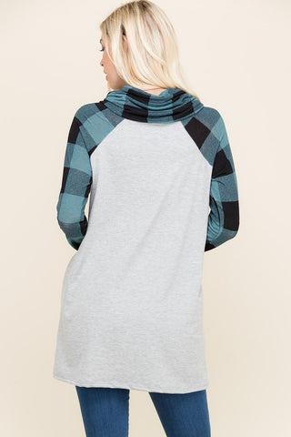 Cowl Neck Plaid Reindeer Top - Green
