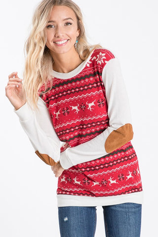 Reindeer Print Sweatshirt - Red