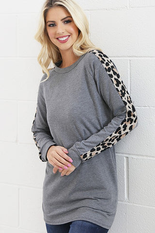 Leopard Print Long Tunic - Heather Gray