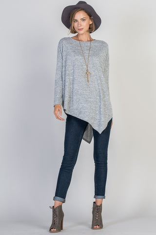 Asymmetrical Sweater Tunic Top - Grey