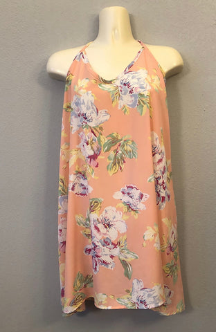 Flowy Tropical Peach Dress