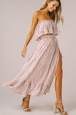 Striped Two Piece Dress - Rose