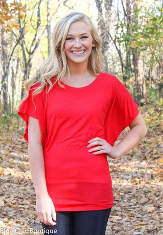Flowy Dolman Top - Red