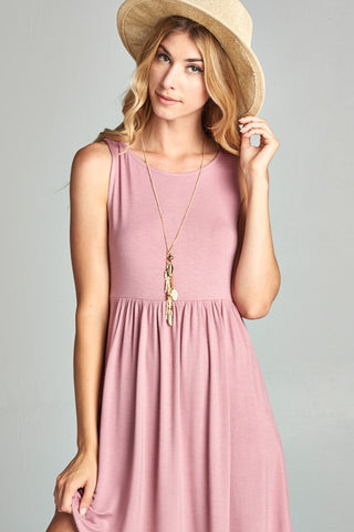 Simple Tank Style Dress - Mauve