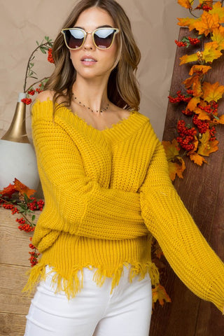Frayed V-Neck Sweater - Mustard