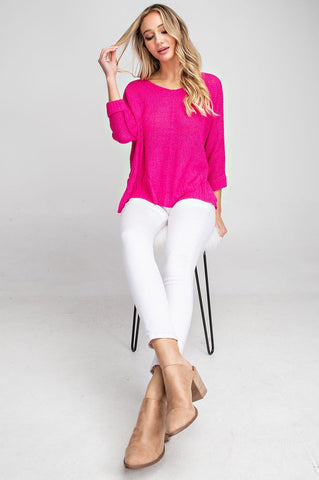 Crew Neck Sweater - Fuchsia