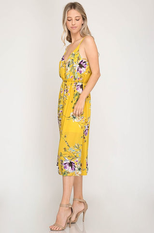 Wildflower Midi Dress - Mustard