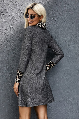 Cowl Neck Leopard Print Dress