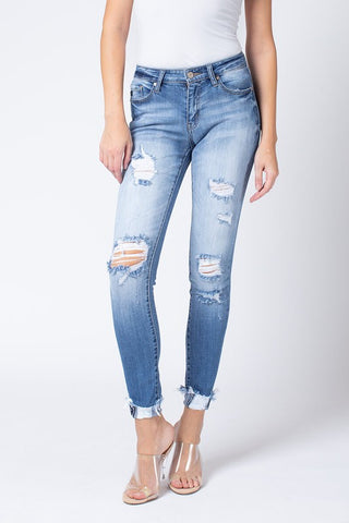 Kan Can Light Wash Rolled Bottom Jeans