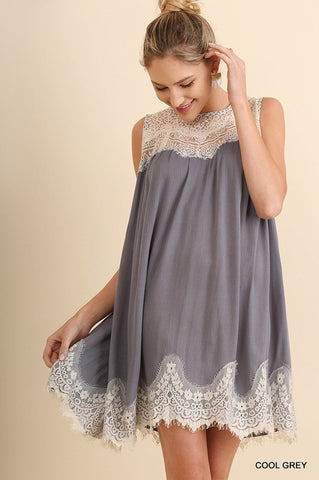 Sleeveless Lace Detail Dress - Cool Grey