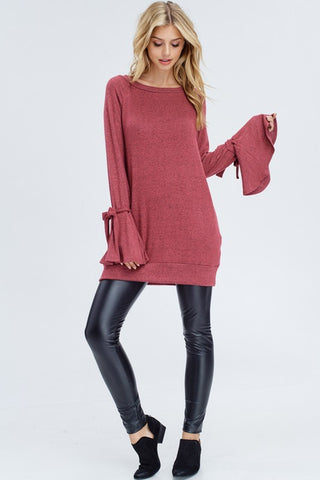 Bell Sleeve Tunic Top - Deep Mauve