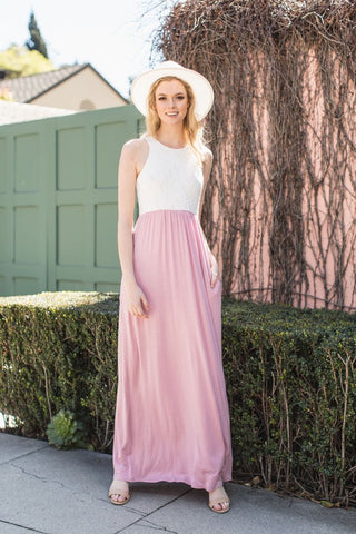 Lace Racerback Maxi Dress - Hot Pink