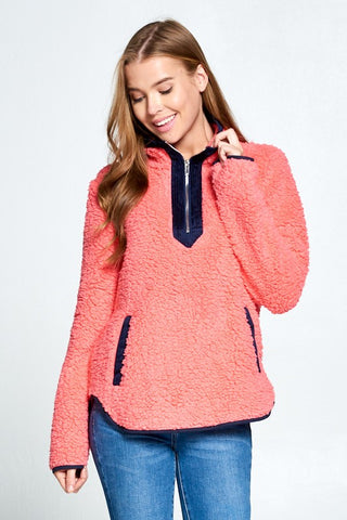 Sherpa Pullover with Zipper - Hot Pink and Navy