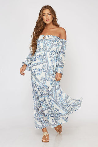 Off Shoulder Blue Floral Maxi Dress