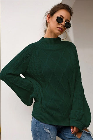 Chic Mock Neck Sweater - Hunter Green