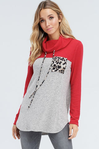 Cowl Neck Leopard Pocket Top - Red