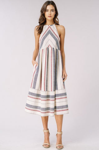 Summer Striped Midi Dress - Natural