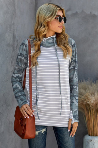 Camo and Striped Double Hoodie