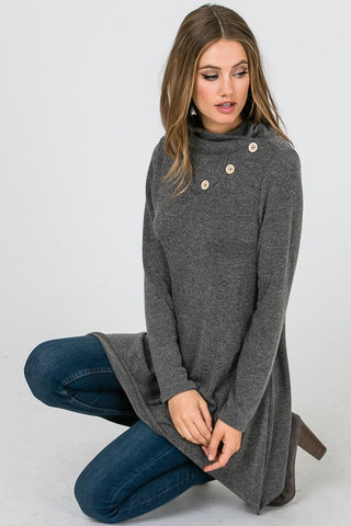 Button Detail Tunic - Grey