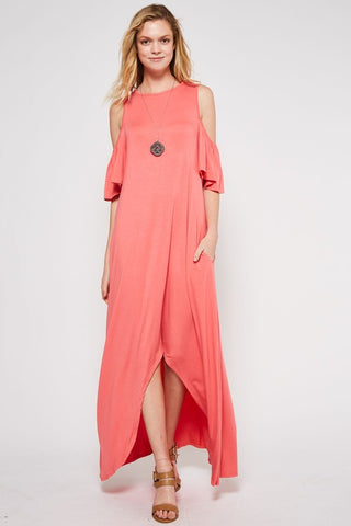 Cold Shoulder Maxi Dress - Coral
