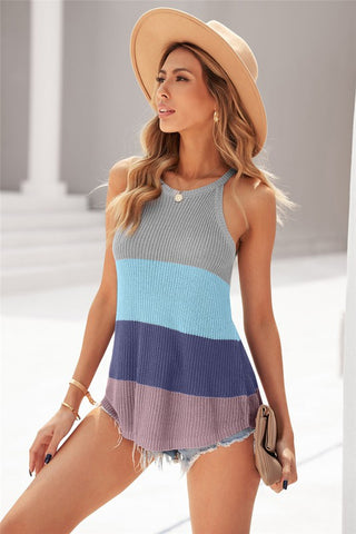 Sweater Knit Color Block Tank