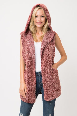 Soft and Fuzzy Vest with Hood - Wine