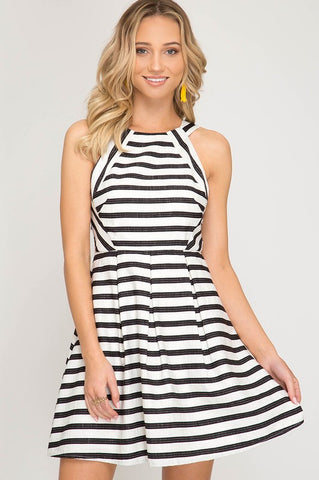 Yacht Club Striped Dress - Ivory