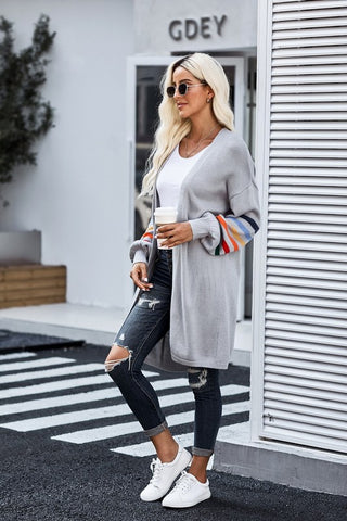 Long Balloon Rainbow Sleeve Cardigan - Grey