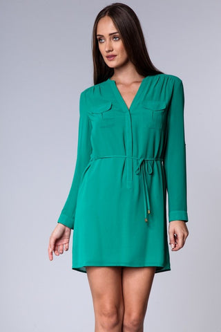 Drawstring Long Sleeve Dress - Kelly Green
