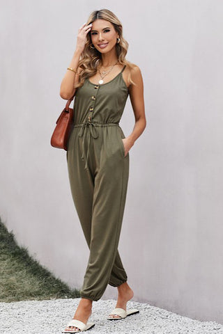 Knit Jumpsuit  with Pockets - Olive