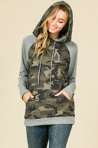 Camo Hoodie With Gray Sleeves