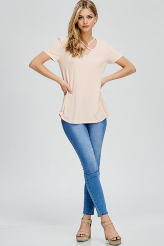 Criss Cross Ribbed Top - Blush
