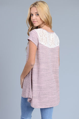 Marble Colored Lace Top - Mauve