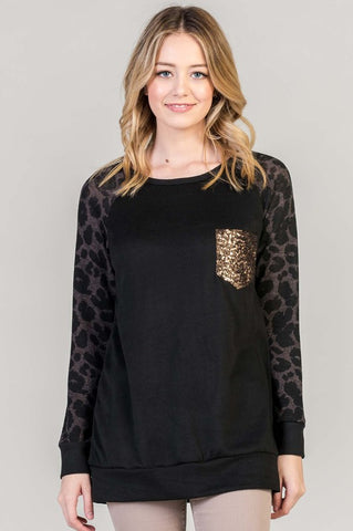 Leopard Print Sequned Top - Black and Brown