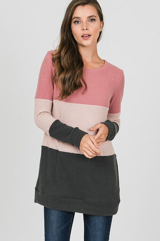 Thermal Color Block Top - Pink and Gray