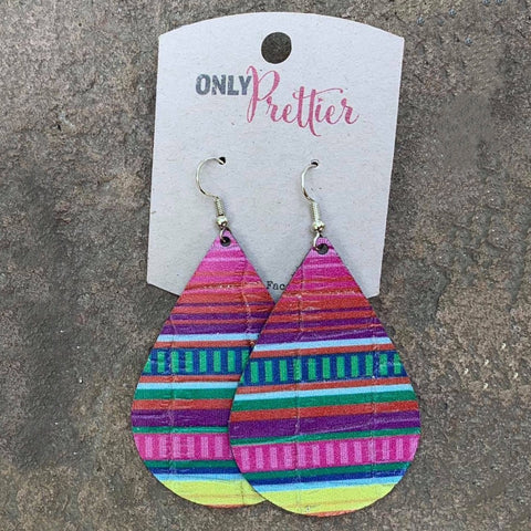 Rainbow Leather Teardrop Earrings