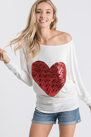 Sequined Heart Top - White