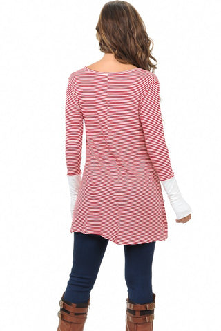 Striped Tunic Top - Red