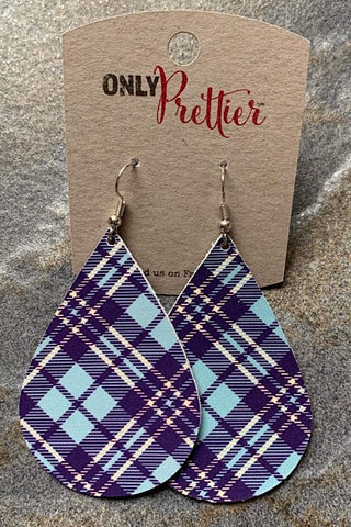 Leather Teardrop Plaid Earrings - Blue
