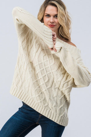 Cable Knit Off Shoulder Sweater - Ivory