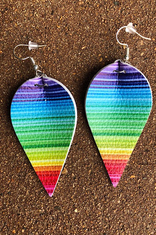 Rainbow Pinched Leather Earrings