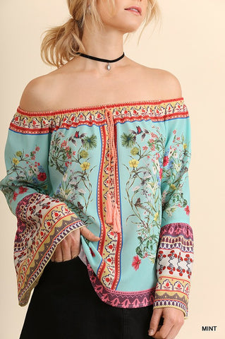 Boho Off Shoulder Floral Top - Mint