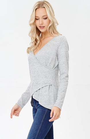 Wrap V-Neck Fleece Top - Gray