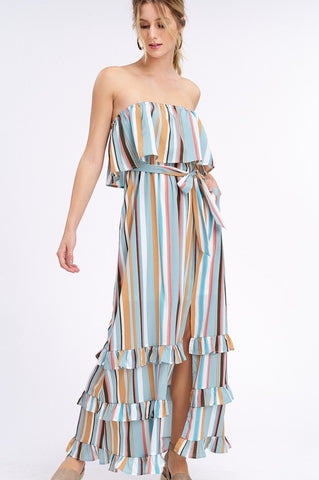 South of the Border Strapless Striped Maxi Dress - Emerald Mix