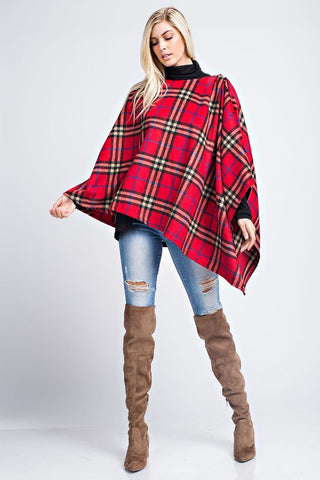 Timeless Plaid Poncho - Red